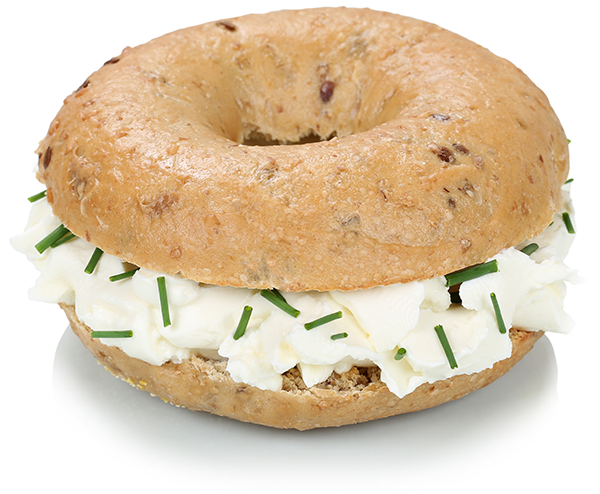 Whole Grain Bagel with Cream Cheese and Chives.